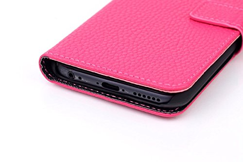 Apple iPhone 6 - Various Designs Premium Quality Leather / Hardcase / Gel / Silicone / Durable / Transparent / Clear / Wallet / Credit Card Holder Flip Case Bumper Stand Cover includes a Stylus Touch  Lichi Textur - Schwarz