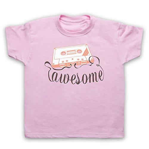 My Icon Art & Clothing Cassette Tape Awesome Text Camiseta para Niños, Rosa Claro, 1-2 Años