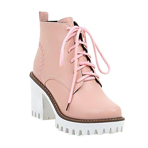 Mee Shoes Damen chunky heels Plateau kurzschaft runde Stiefel Pink
