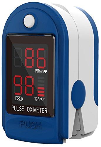 Fingerpulsoximeter CMS-50 DL Herzfrequenzmesser SPO2 Sauerstoffsättigung Messung mit LED Display incl. Batterien/Tasche/Schutzhülle Silikon/Trageband -