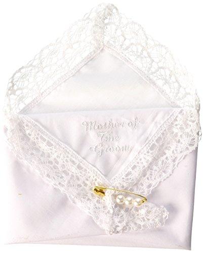 Darice VL3067 Mother of The Groom Embossed Handkerchief Hankies with Pearl Pin by Darice