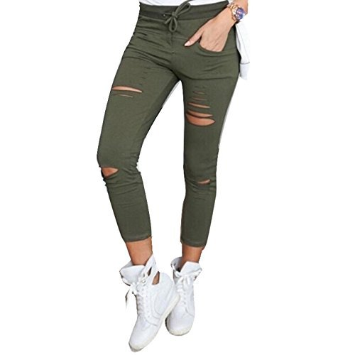 Skinny Khaki-hosen (Live It Style It Damen dehnbar verblichen gerippt Enge Passform Skinny Jeggings Jeanshose Damen-Hosen - Khaki, Large)