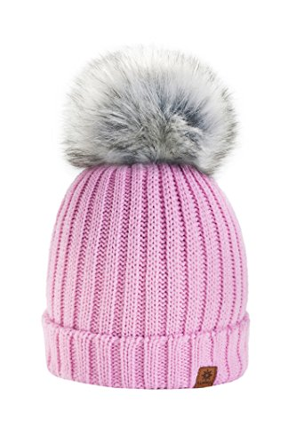 4sold Rita Damen Wurm Winter Style Beanie Strickmütze Mütze mit Fellbommel...