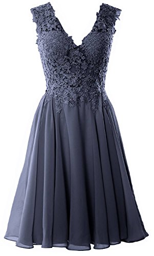 MACloth Women V Neck Wedding Party Dress Short Lace Prom Homecoming Formal Gown (EU32, Steel Blue) - Floral Lace Wedding Dress
