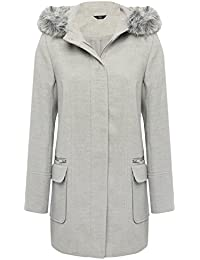 M&Co Ladies Grey Faux Fur Trim Long Sleeve Hooded Button Front Duffle Coat