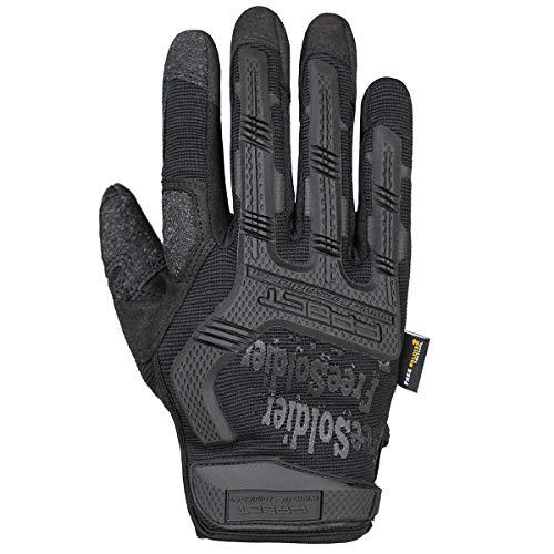 FREE SOLDIER Sport Handschuhe Taktische Motorradhandschuhe Herren Vollfinger Handschuhe mit gepolstertem Ideal für Fahrrad Airsoft Militär Paintball Kletter und andere Outdoor Aktivitäten Schwarz L