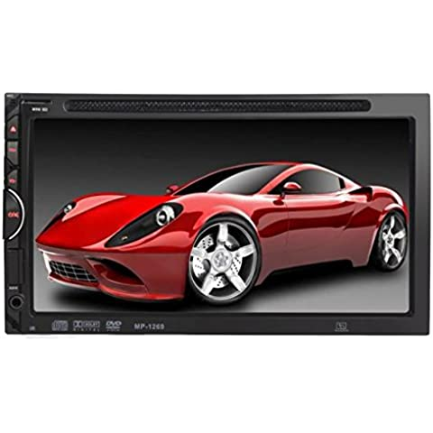 POTOBrand, 7 HD 2DIN pantalla táctil Bluetooth Car CD Reproductor de DVD Stereo MP3 AUX Radio FM USB