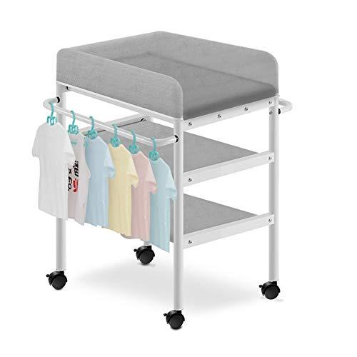 Wickelstation mit Universalrad, Aufbewahrungsbox for Kleinkinder, geeignet for Kinder von 0 bis 3 Jahren (Color : Gray)