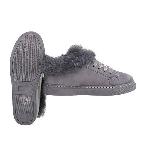 Sneakers Low Damenschuhe Sneakers Low Warm Gefütterte Schnürsenkel Ital-Design Freizeitschuhe Grau