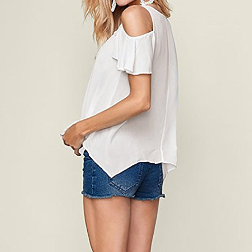 Siswong Femmes T-Shirt, Sexy V Neck Floral Imprimer Manches Courtes Tops Blouse T-Shirt Blanc