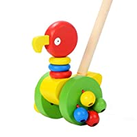 Lukame Child Kid Puzzle Putting Exercise Cart Cartoon Animal Cart Wooden Cart