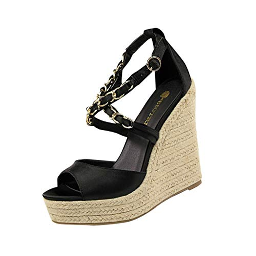 SHE.White Damen Wedge Sandal Basic Plateau Sandalen Kette Kreuz Gebunden Keilabsatz Schuhe Sommer Elegant High Heels Offener Zeh Wedge Schuhe Sommerschuhe (Keil Neue Damen Leinwand Sandale)