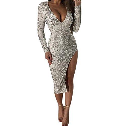 Damen Kleid Yesmile Frauen Pailletten Deep V Kleid ärmelloses Bodycon Parteikleid Culb...