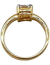 KumKum Jewels Gold-plated Cubic Zirconia Solitaire Stone Studded Ring For Women.