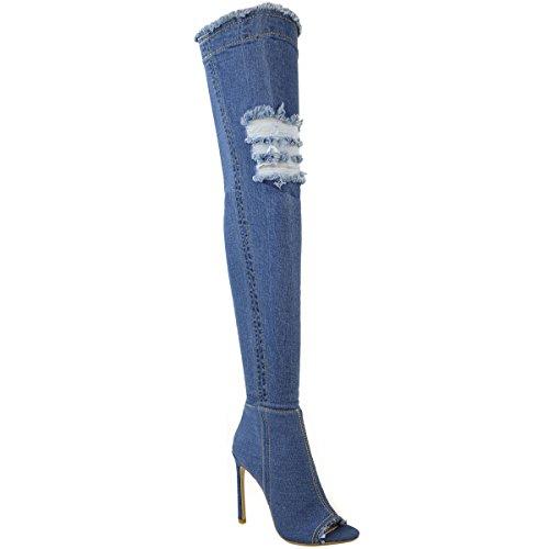 Femmes Au-dessus Du Genou Bottes Bas Talon Haut Talon Aiguille Jeans Extensible Taille Mid Blue Denim