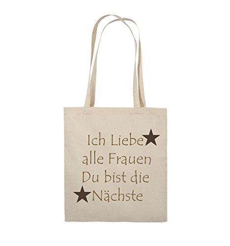 Comedy Bags - Ich liebe alle Frauen du bist die Nächste - Jutebeutel - lange Henkel - 38x42cm - Farbe: Schwarz / Weiss-Neongrün Natural / Hellbraun-Dunkelbraun