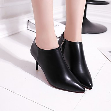 RTRY Donna Comfort Tacchi Pu Primavera Autunno Casual Office &Amp; Carriera Zipper Stiletto Heel Ruby Nero 2A-2 3/4In US8 / EU39 / UK6 / CN39