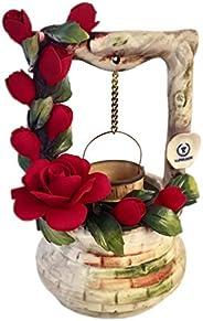 Pozzetto Dei Desideri Con Rose Rosse In Porcellana Fatto A Mano In Italia Stile Capodimonte Con Nostro Marchio