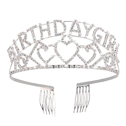 Geburtstagskind Tiara Crown, Strass Kristall Haarschmuck Happy Birthday Party Supplies (Silber)