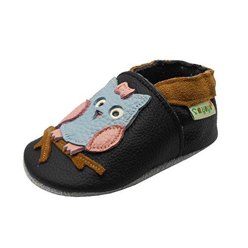 Sayoyo Baby Eule Lauflernschuhe Leder Weiche Sohle Baby Mädchen Baby Jungen Kugelsicherer Krippe Enfants Schuhe (18-24 Monat, Schwarz) -