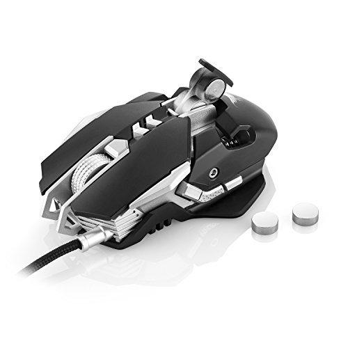 Iyowin [3200 DPI LED-Optisch Gaming Maus] Gaming Maus USB-Wired, 7 Tasten, LED-Optisch, 4 stufige DPI (1200/1600/2400/3200), für Professionelle Gamer (Schwarz)