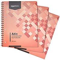 AmazonBasics Lot de 3cahiers à spirales 200pages 80g/m² Format A4+