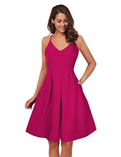 KOJOOIN Damen Elegant Rückenfreies Abendkleid Cocktailkleid Sommerkleid  Spaghetti Trägerkleid mit Schnürungen  V-Ausschnitt, Ohne Arm, Knielang  (Rose L) 61071b6b2a