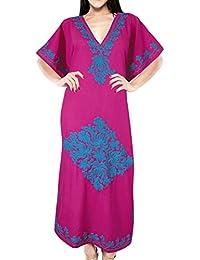LA LEELA Donne Rayon Kaftan Tunica Ricamato Kimono Libero Formato Lungo  Maxi Partito Caftano Vestito per Loungewear Vacanze Pigiama Spiaggia di… 81aee0b7a42