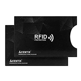 2 X ACENTIX Black Waterproof RFID&NFC Blocking Sleeves for Credit Card,RFID Card Holder,Anti Identity Theft,Design Perfectly Fits Wallet/Purse