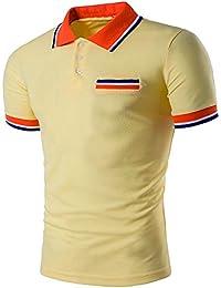 4f250d5d130 Solike Polo Homme Été T-Shirt Tops Slim en Col V avec Boutons Manches  Courtes Imprimé Casual T-Shirt de Ete Tee Tops Blouse Chemises…