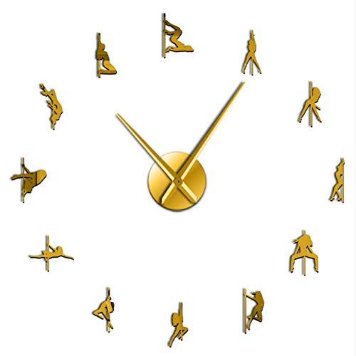Wangcheng1 Pole Dance Rahmenlose 3D DIY Moderne Wanduhr Exotic Dance Kit Dekoration Mit Spiegel Zahlen Aufkleber Uhr Geschenk für Mädchen(37inch) - Zahlen Mit Uhr-kits