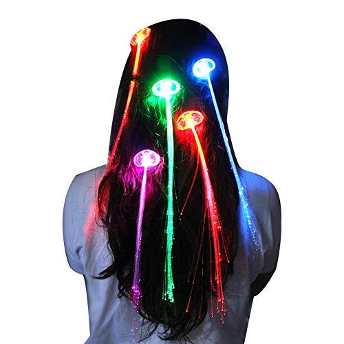 LED Kreative leuchten Haar-Verlängerungen Fashion Style Haarspange Ersatz Glasfaser HaarBarrettes 1PC (Light Perücke Up)