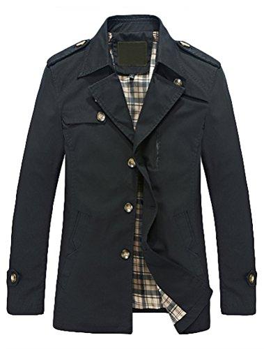 MatchLife Nouvelle Veste Casual Manteau Hommes Elegant Printemps-Automne Noir