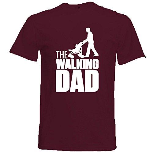 Generico t-shirt maglietta walking dad, colore bordeaux, regalo unico per la festa del papa', cotone, manica corta, uomo