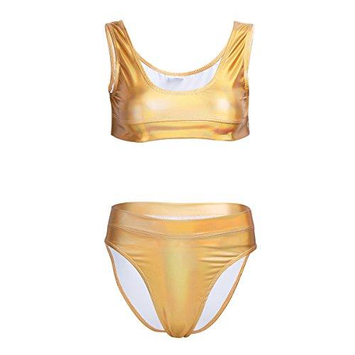 Tiaobug Damen Dessous Set Sexy Tank Top BH Bralette Lingerie Lack Leder Unterwäsche Nachthemd Negligee String Reizwäsche Gold L