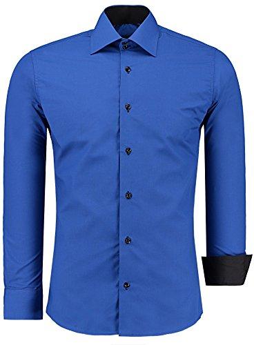 J'S FASHION Herren-Hemd – Slim Fit – Bügelleicht – Langarm-Hemd für Business Freizeit Hochzeit – Royalblau - L