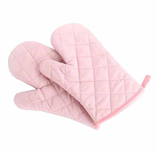 Ukamshop1 Paar Hitzebeständig Baumwolle schön Ofenhandschuh Topflappen Backhalter (rosa)