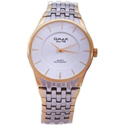 Silver Gold Plated OMAX Brand Men's Modern Fashion Analogue Japanes Quartz Metal Watch