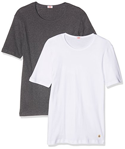 Armor Lux Herren T-Shirt 75133, 2er Pack Blanc (Blanc/Gris Chiné)