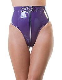 Honour Women's High Waisted Underwear Panties in PVC Purple Zip Front size 8