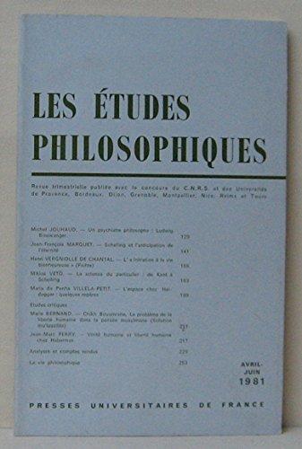 Les tudes philosophiques - avril-juin 1981 - N2