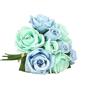 Vovotrade 9 Jefes de Hermosa Artificial Falso Flores de Seda Hoja Rosas Floral Decoración de la Boda Ramo Celebracion…