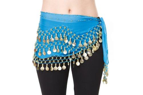 Orientalisch Bauchtanz Kostüm Pailletten, türkis/gold, Belly Dance Bauchtanz Rock (Kostüm Danse Oriental)