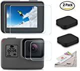 [2pcs] Deyard Ultra-Clear Tempered-Glass Screen Protector Lens Film & Lens Cap Cover for GoPro Hero 6 Hero 5 Action Camera
