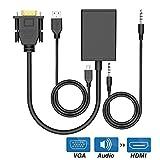 Adattatore da VGA a HDMI Cavo convertitore audio video 1080P per PC Laptop, ingresso VGA a uscita HDMI Porta display per HDTV Proiettore Monitor Estendi schermo con cavo di alimentazione USB [Nero]