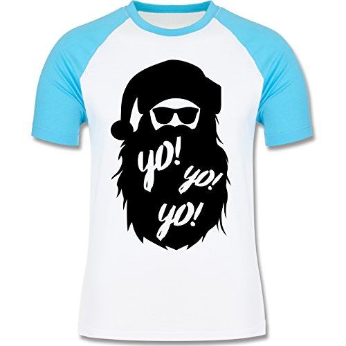 Weihnachten & Silvester - Yo Santa - zweifarbiges Baseballshirt für Männer Weiß/Türkis