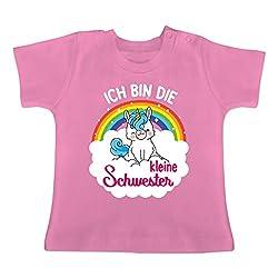 Geschwisterliebe Baby - Ich Bin die kleine Schwester - mit Einhorn - 12/18 Monate - Pink - BZ02 - Baby T-Shirt Kurzarm