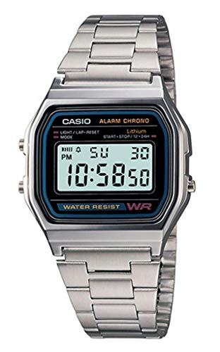 Casio - A158WA-1DF - Montre Homme - Quartz Digital - Cadran Argent - Bracelet Métal Argent