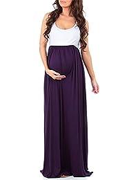 Shinekoo Femmes Maternité Taille Haute Longue Maxi Robe Imprimée sans Manches Grossesse Boho Empire Robe