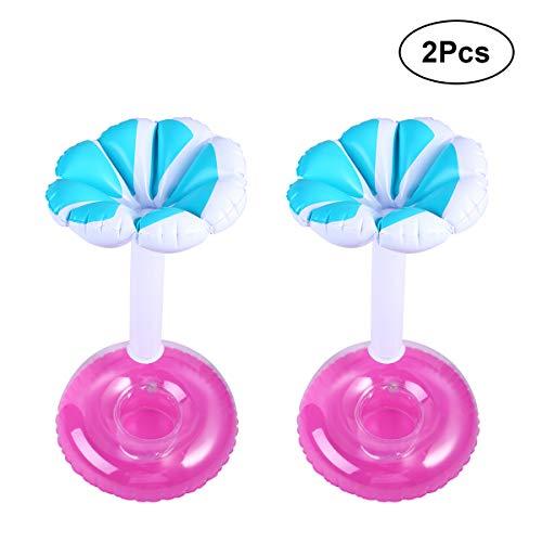 VORCOOL Aufblasbare Getränkehalter Blume Bäume Geformt schwimmenden Pool Cups Coaster für Pool Party Pack von 2 (Blau) Blumen-cup 2